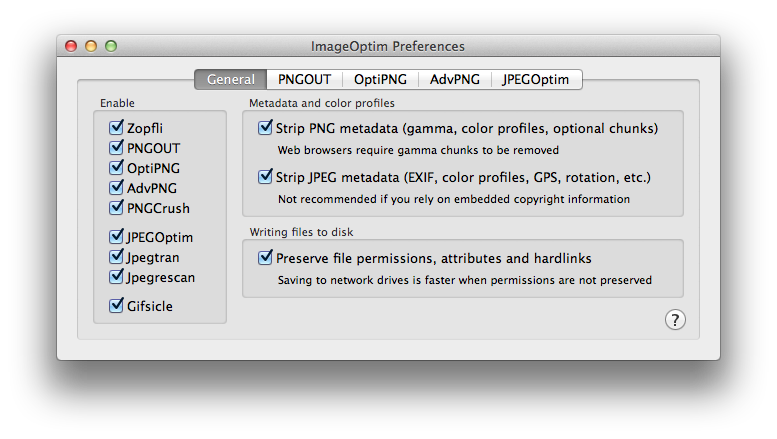 ImageOptim preferences
