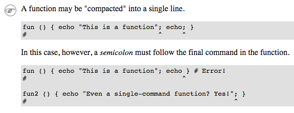 one line bash function