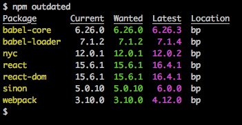 npm outdated output